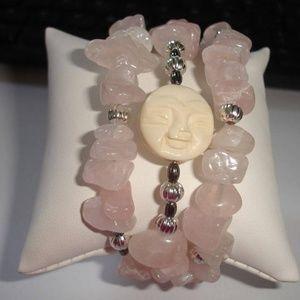 Blessed Moon Rose Quartz Triple Wrap Bracelet